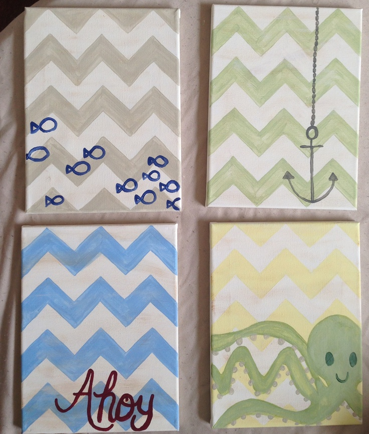 Hand painted chevron canvases for the twins' nautical nursery