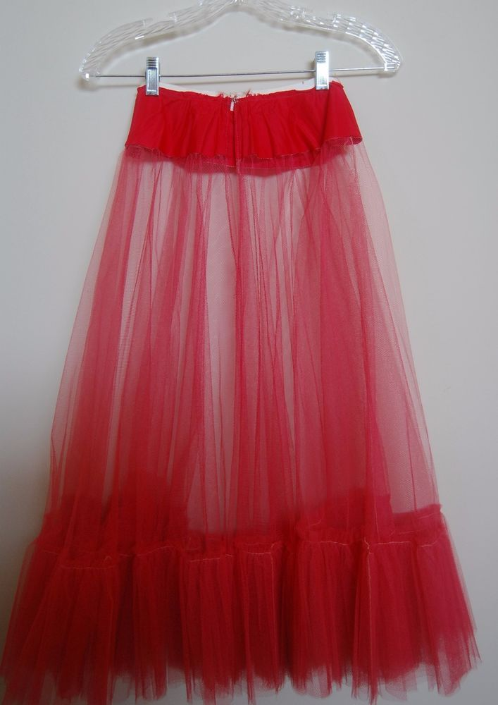 Vintage Petticoat Tulle Red 1950s Fashion Half Slip Skirt Sweep Handsewn XS/S #Handmade #Petitcoat #Party #1950s #1950sFashion