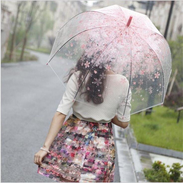 Новая Мода Вишня Прозрачный Солнечный Rainny Зонтик Зонтик Милый Зонтик Женщины Симпатичные Прозрачный Полуавтоматическая Длинной Ручкой Зонты купить на AliExpress