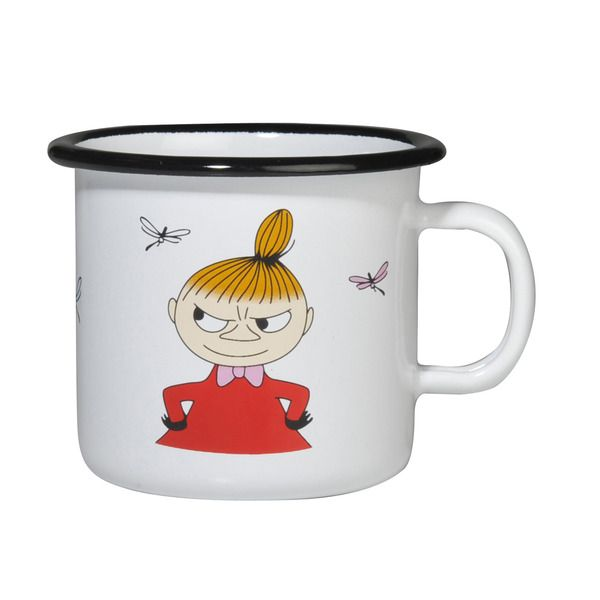 Little My Enamel Mug 2,5 dl  The Moomin Enamel mugs are extremely durable and easy to take care of. This makes them the perfect mugs for your home, your cottage or even your boat!