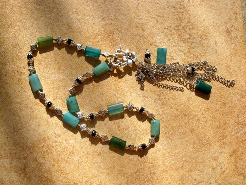Black Agate Blue Jade Necklace - The combination of Jade (for good health, as well as love) and black Agate for protection, in this necklace, promises much and makes an ideal gift for someone you care about