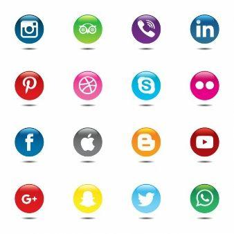 Colorful and circular set of social media icons