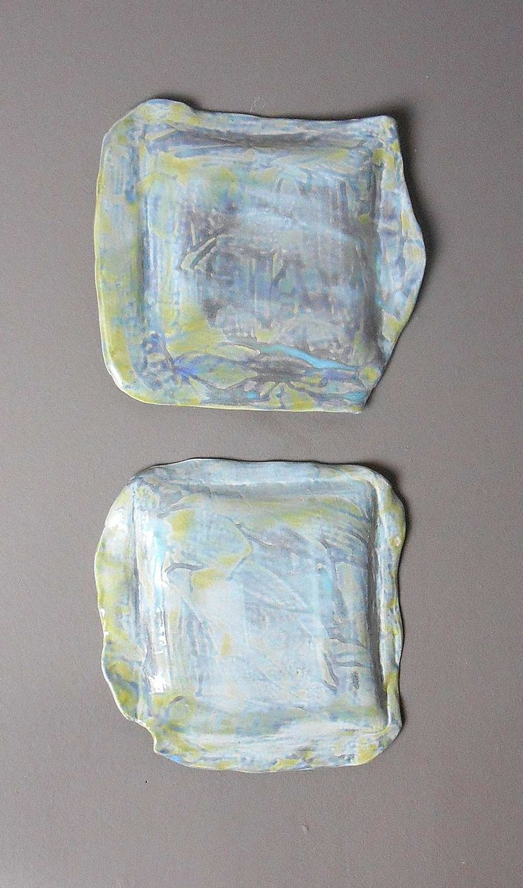 From Luxe Interiors Design Green And Yellow Blue Purple Square Modern Ceramic Wall Sculptures