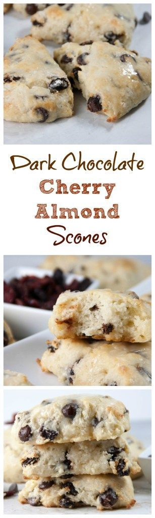 dark chocolate cherry almond sccones- tender flaky scones with dark chocolate chunks, tart chewy dried cherries, and almond extract added for the perfect flavor combo!