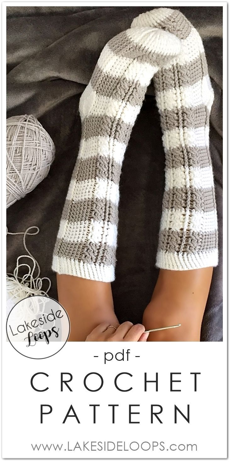 Crochet sock pattern for the whole family. These beautiful cable crochet socks c…