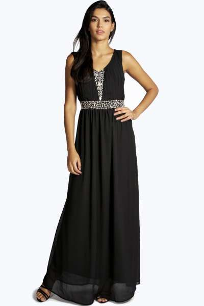 Blake embellished pleat front maxi dress at for Boohoo dresses for weddings