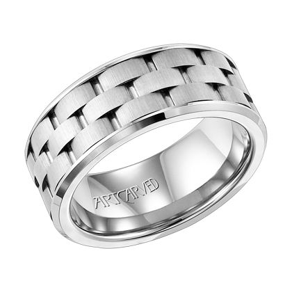 9mm wide men's wedding ring with brick pattern band by ArtCarved