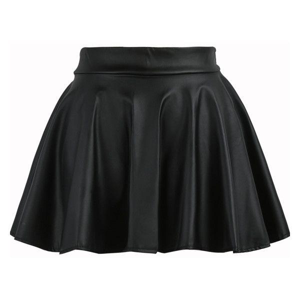 Black Elastic Waist Flare PU Leather Skirt ($15) ❤ liked on Polyvore featuring skirts, black, pleather skirt, flared skirt, pattern skirt, leatherette skirt and flare skirt