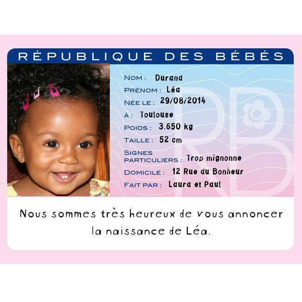 carte d identite bebe Faire part de naissance original : 13 idées qui font la différence