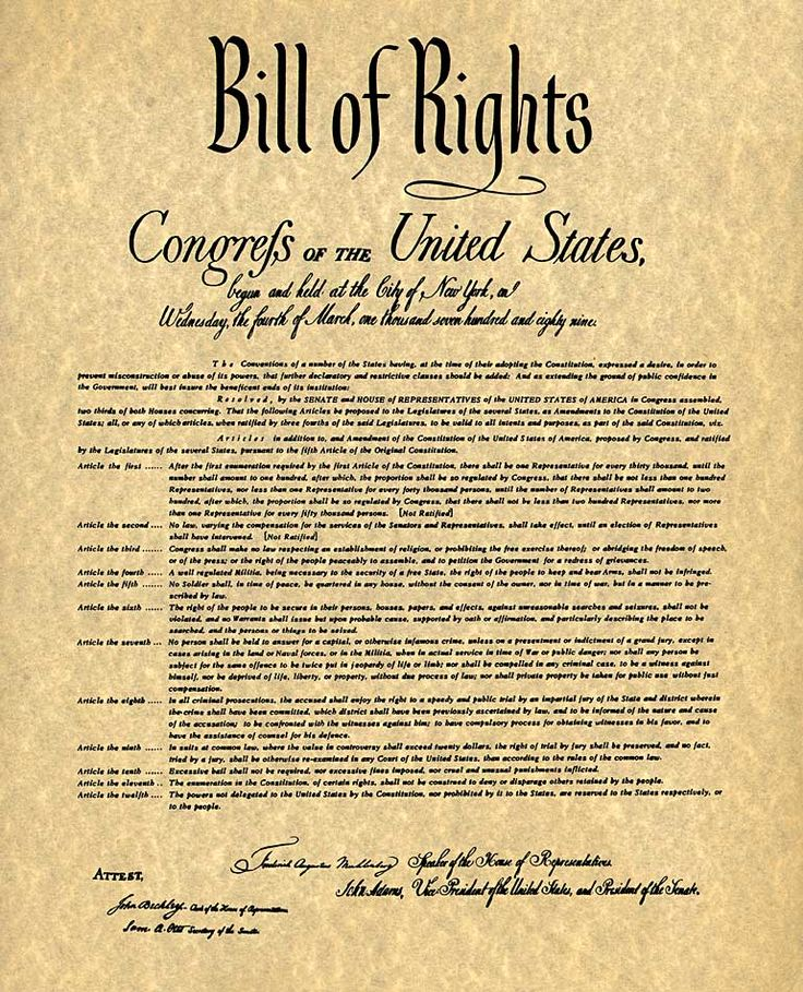 Printable Bill of Rights PDF | The Bill of Rights - Readable and Printable
