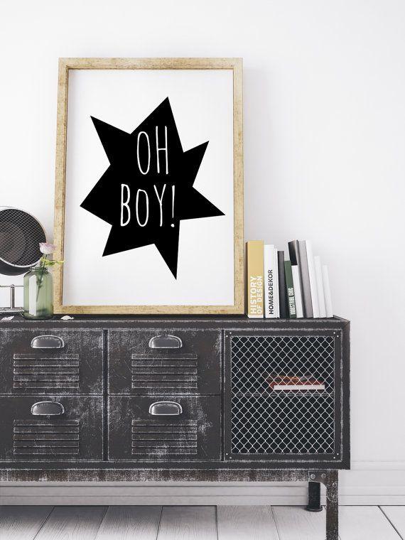 Nursery Illustration, Boys Room Decor, Oh Boy, Nursery Quote, Large Printable Nursery, Wall Art Kids Playroom Baby Boy, Black White Nursery