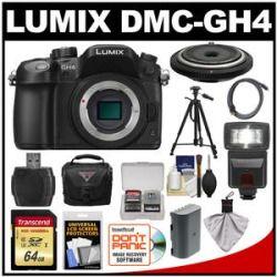 Get Cheap Panasonic Lumix DMC-GH4 4K Micro Four Thirds Digital Camera Body with 15mm Pancake Lens  64GB Card  Battery  Case  Tripod  Flash  Kit On Amazon
