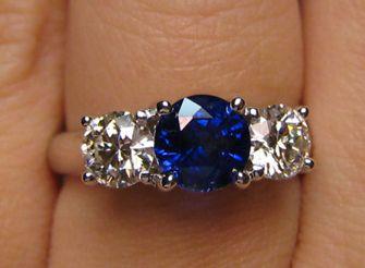 September birthstone sapphire three stone ring