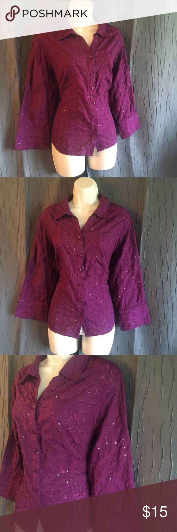 JM Collection Purple Sparkle Blouse Button up purple blouse with sparkling sequins size 12. Fold over collar, v-neck, wide 3/4 length sleeves, and made of 56% polyester & 44% cotton. Like new JM Collection Tops Button Down Shirts