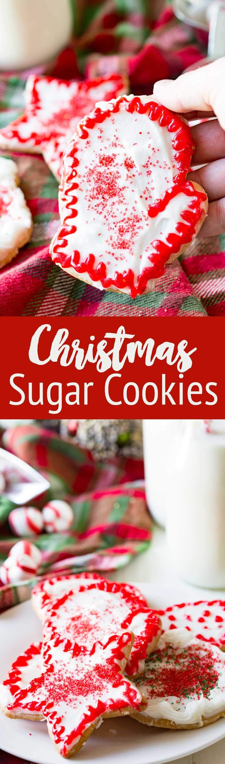 Christmas Sugar Cookies that are cut out cookies, topped with frosting, and excellent for decorating and eating. #sugarcookies #christmas #christmascookies #cookieexchange #cookies