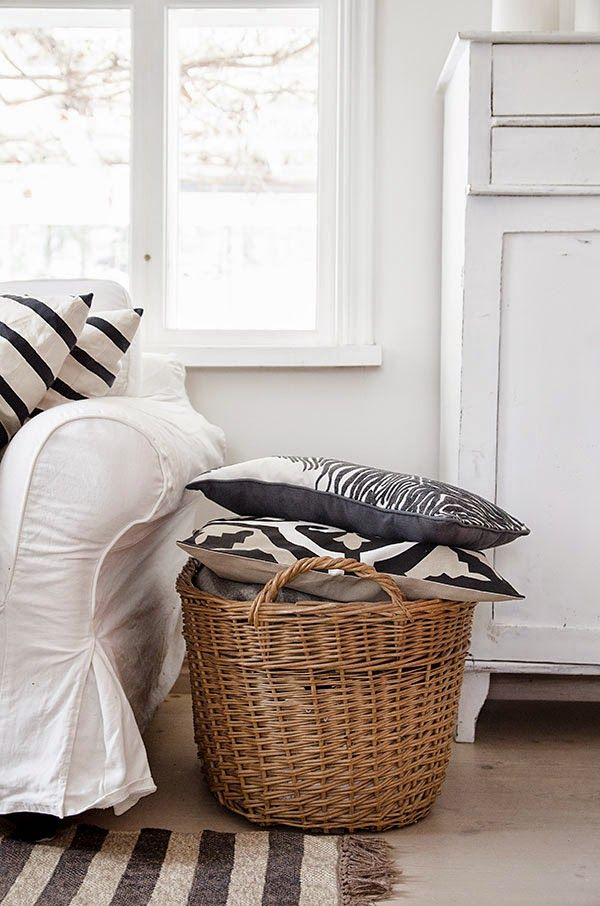 Large White Wicker Laundry Hamper