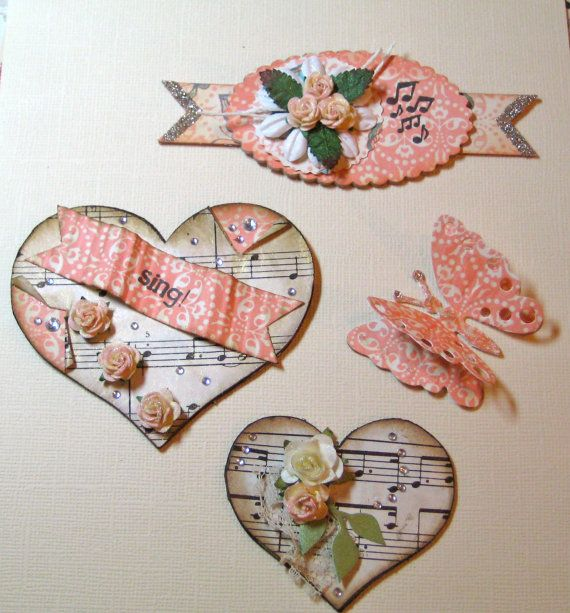 Heart Set Card Candy - Theme Music Shabby Chic Paper Embellishments for Scrapbooking, Cards, Mini Albums, Tags, Pocket Letters