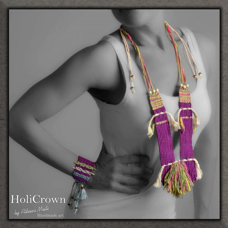 Woven neck piece and bracelet.
