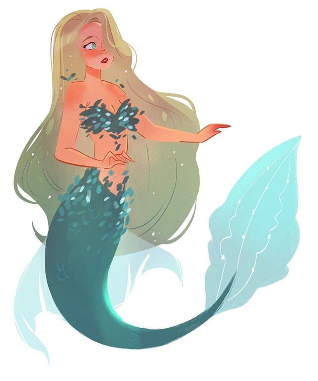 A little mermaid doodle after a long day of work. I haven't been drawing mermaids in such a long time