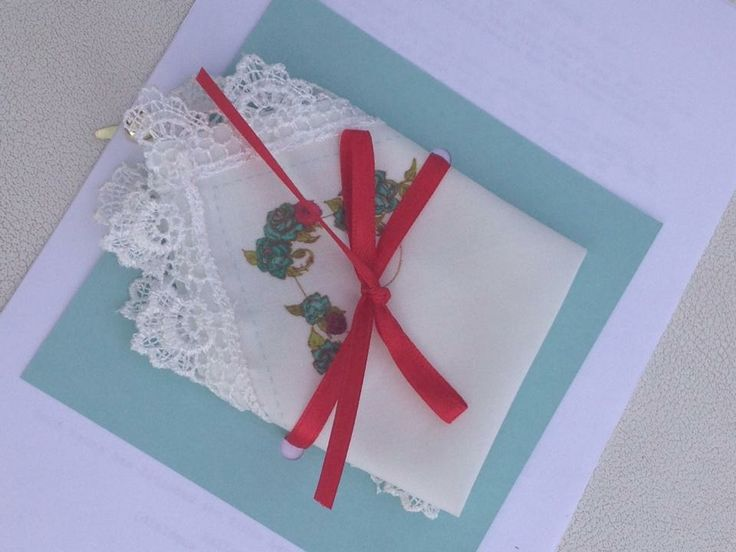 Cute napkins in tiffany blue and red