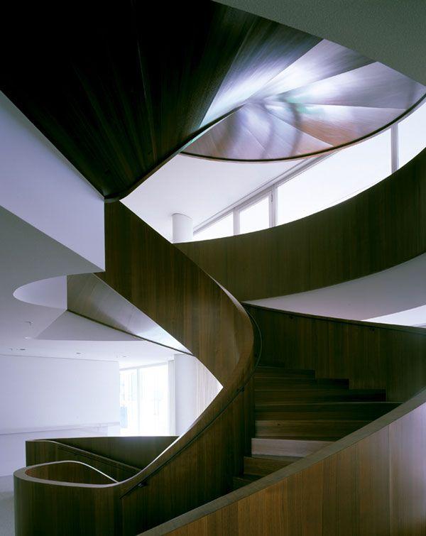 Nice wooden staircase inside the Novartis Forum 3 building by the Swiss office Diener & Diener.