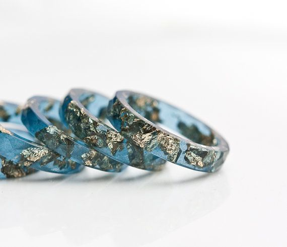 Sapphire Blue Resin Stacking Ring Gold Flakes Thin door daimblond