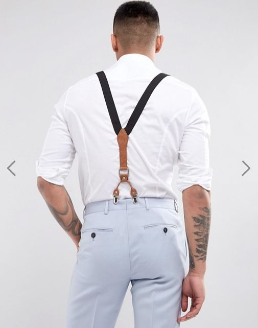 suspenders - leather detail - tailored pants