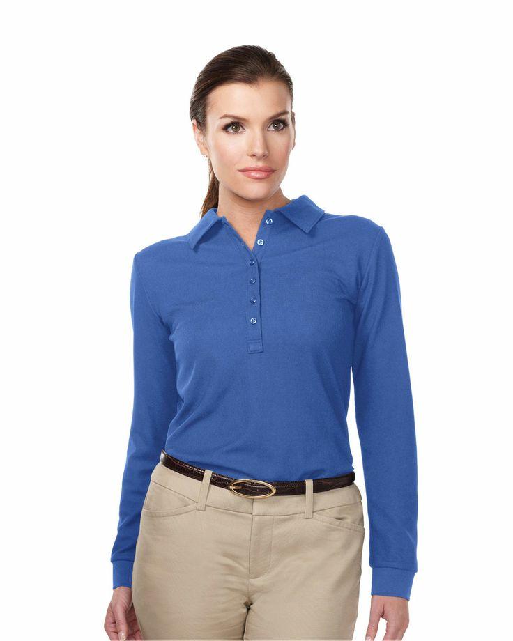 Womens #Knit Long Sleeve #GolfShirt (100% #Polyester) Tri mountain KL103LS #blue