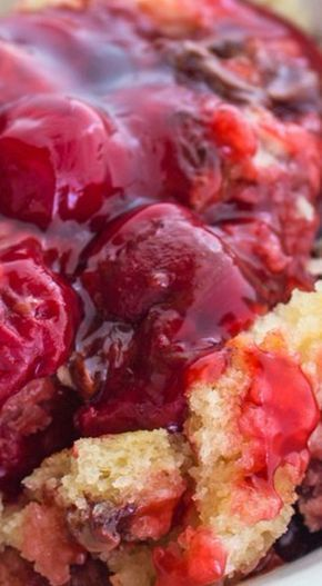 "Crock Pot Cherry Pudding Cake ""A Homemade Cake Batter with Cherry Pie Filling and Chocolate Chips. Delicious!!"""