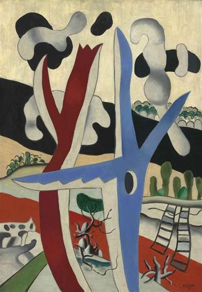 Fernand Léger - Paysage à l'arbre bleu, 1937, oil... on MutualArt.com