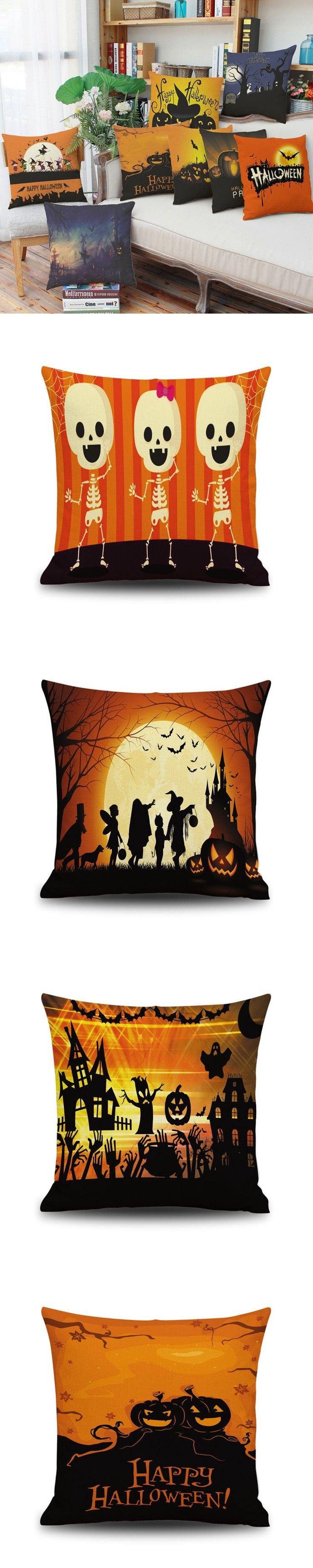 2016 Home Textile High Quality Halloween Pillow Cover Scandinavian Standard Linen Decorative Pillowcase Office Pillow mat Pillow $3.5