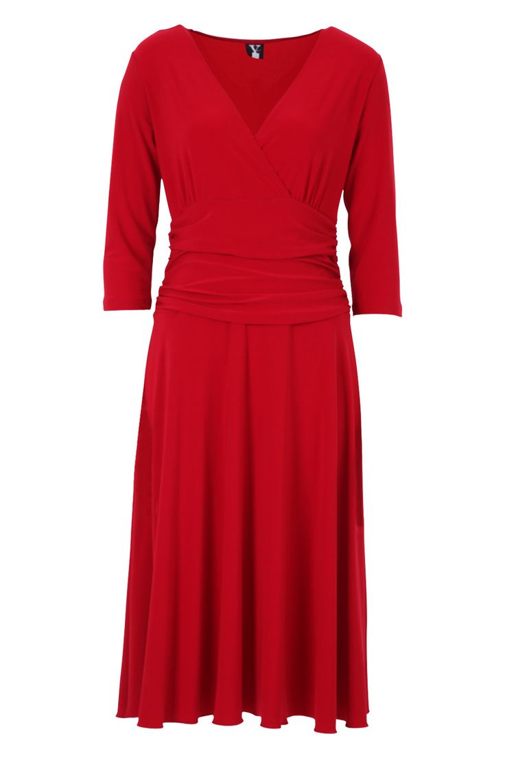 Brands Y 1 27021 V Neck Long Sleeve Dress 1 Images - Birdsnest Clothing brands including Majique, Gordon Smith, Ben Sherman M, KiiK, and many more