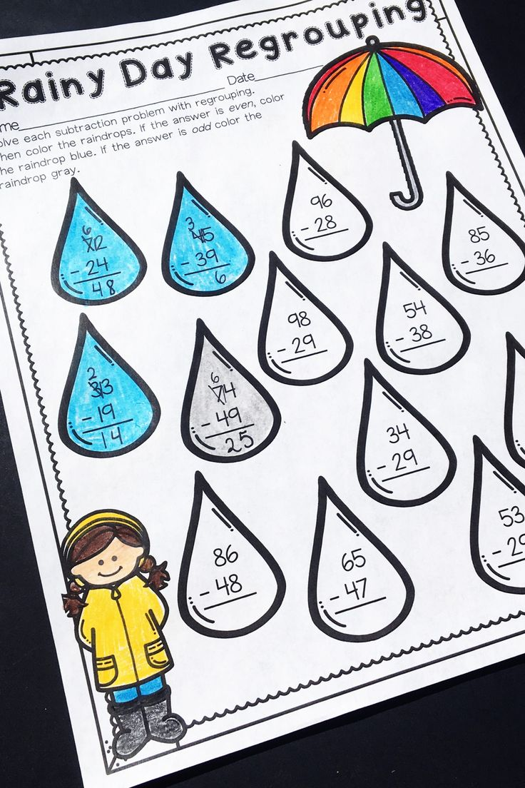 Regrouping is a concept some kids struggle to grasp. Rainy Day Regrouping is just ONE of the fun pages from a spring math unit which is full of no prep printables for the entire season! This unit is geared towards second graders, but can also be used for talented first graders or third graders who may be struggling a bit. This unit covers spring, St. Patrick's Day, Easter, Earth Day and more! https://www.teacherspayteachers.com/Product/Second-Grade-Spring-No-Prep-Math-Printables-2419459