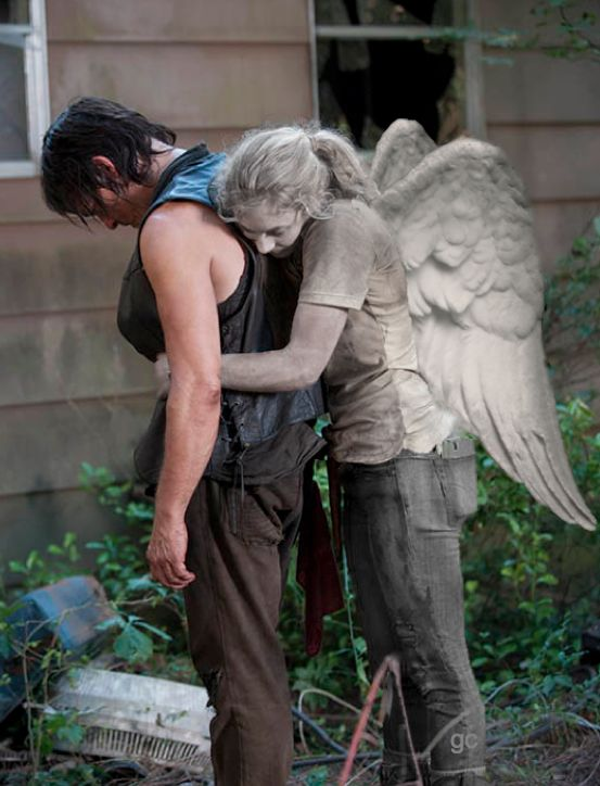 Daryl Dixon Beth Greene. Normally daryl is shown with the wings because of his vest, but Beth is the real angel now