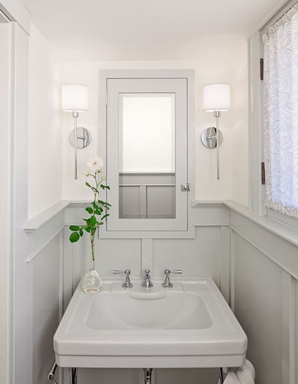 powder room paneling.Ideas, Half Bath, Colors, Interiors Design, Small Bathrooms, Medicine Cabinets, Small Spaces, White Wall, Powder Rooms