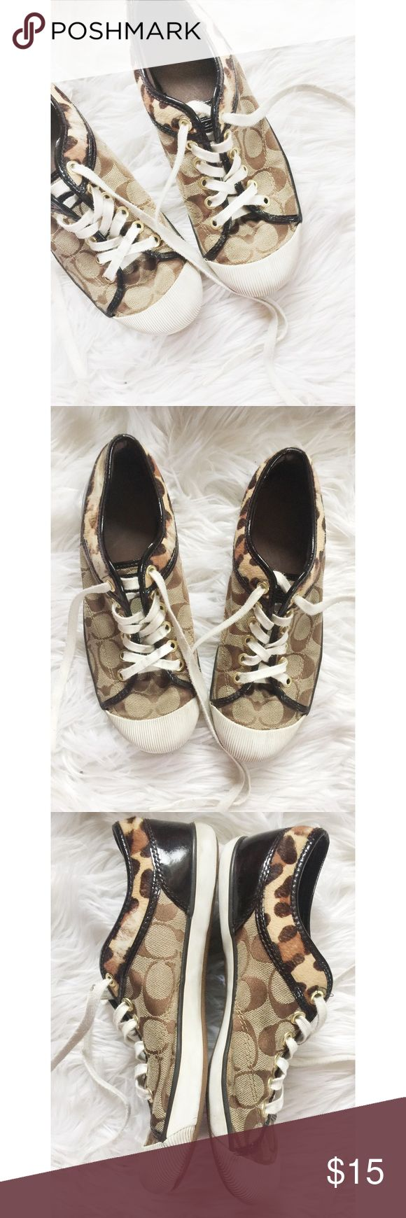 Coach Sneakers Coach Sneakers.  Good used condition.  Signs of wear on the calf hair trim and soles as pictured.  Could use some new shoes laces, I JUST washed them before posting but they are still a little dingy.  Women's size 8B.  Smoke free environment.  No box. Coach Shoes Sneakers