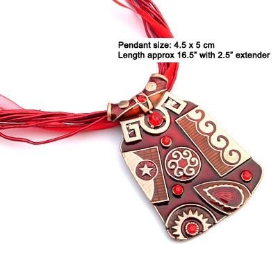 "Stunning red enamel pendant necklace with silk & ribbon cord    High quality enamel pendant in red tones     Pendant measures approx 4.5 x 5 cm     Silk and ribbon cord     16.5"" long with 2.5"" extender     Lobster claw clasp    $19.95 (AUD)"