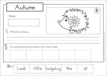 sentence scramble with cut and paste worksheets autumn theme includes 21 sentences to build. Black Bedroom Furniture Sets. Home Design Ideas