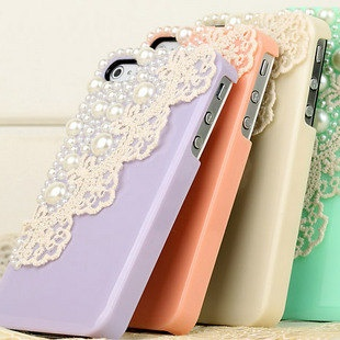 Pearl and lace iPhone cases!: Iphone Cases, Pastel, Lace Iphone, Phones Covers, Cute Cases, Phones Cases, Iphone Covers, Lace Phones, Lace Cases