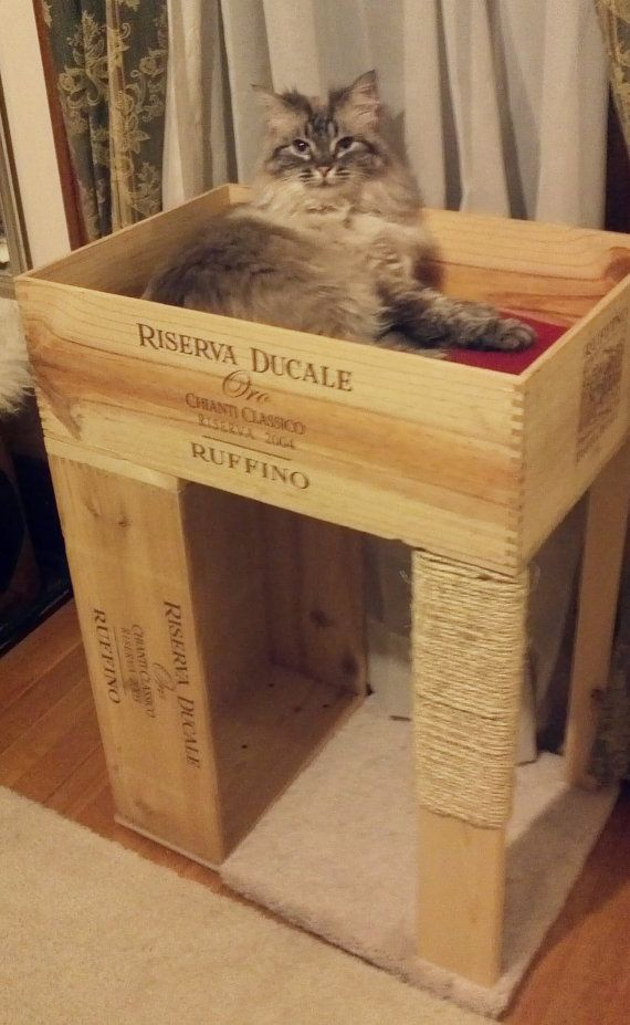 The Original WineCrate Cat Condo with Cat by TansuTreasures, $65.00