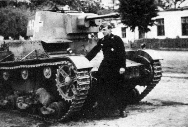 German tank commander at the trophy Polish tank 7TP.