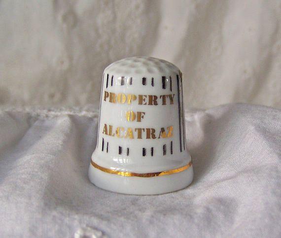 Vintage Alcatraz Porcelain Thimble Jail Bars Sewing Notions