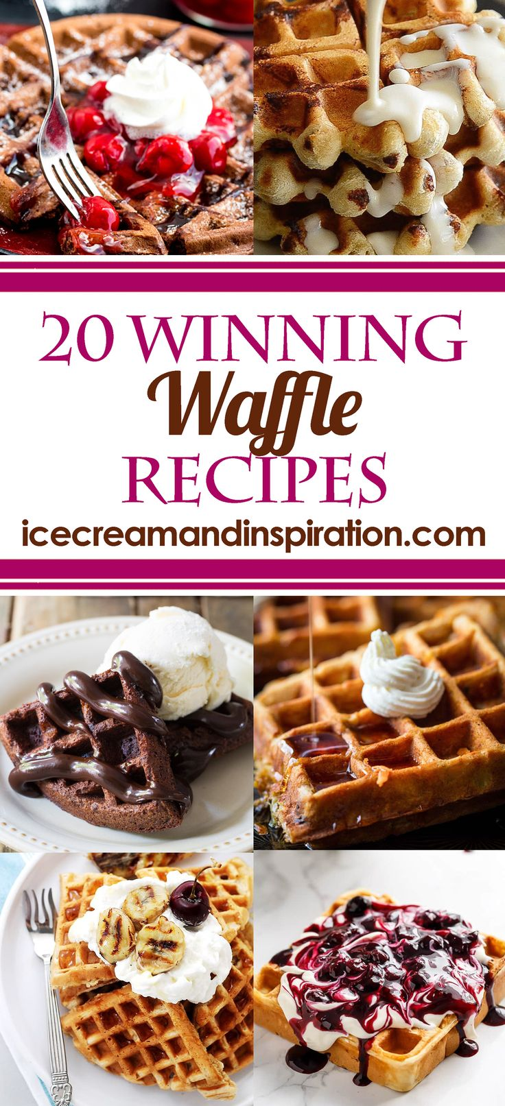Try these 2o Winning Waffle Recipes for breakfast, or dessert! Banana, lemon, and blueberry waffles, along with chocolate, cinnamon, and doughnut waffles!