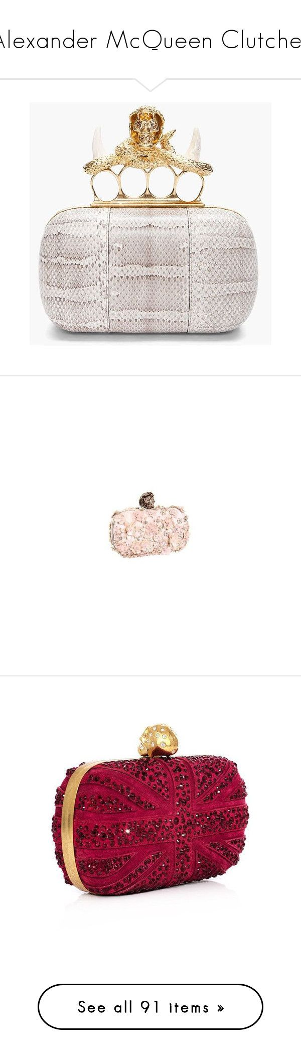 """""""Alexander McQueen Clutches"""" by danijelapoly ❤ liked on Polyvore featuring bags, handbags, clutches, knuckle purse, embellished purses, hard clutch, alexander mcqueen handbags, knuckle box clutch, multicolor and zipper purse"""