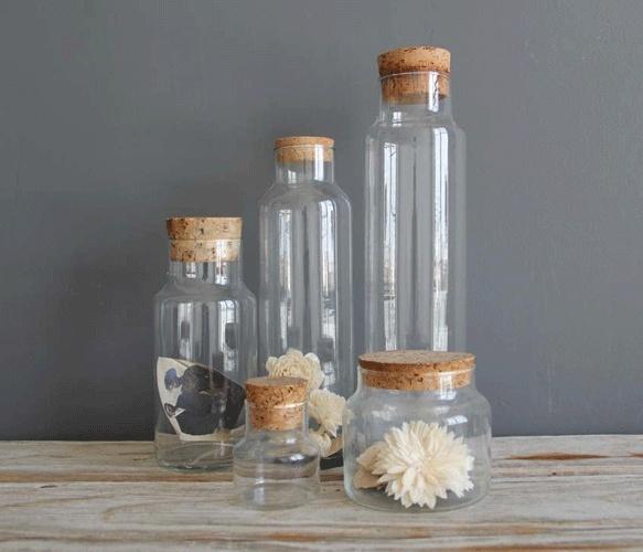 Set of Glass Cork Jars