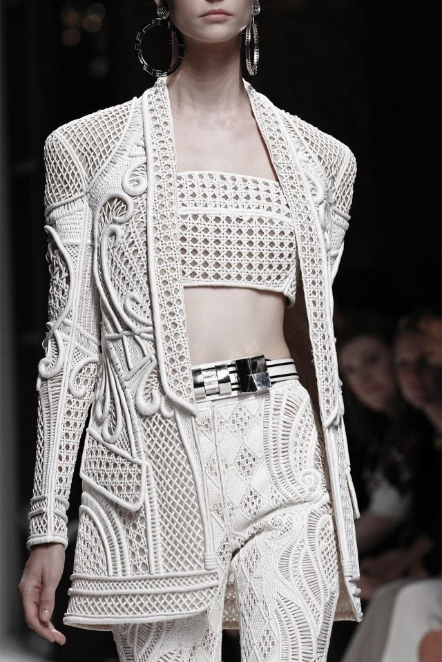 Longline jacket & trousers with woven panels, patterns & textures; white fashion details // Balmain