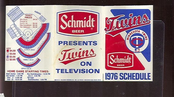 1976 Minnesota Twins Schmidt Beer Pocket Schedule (sku-59087)