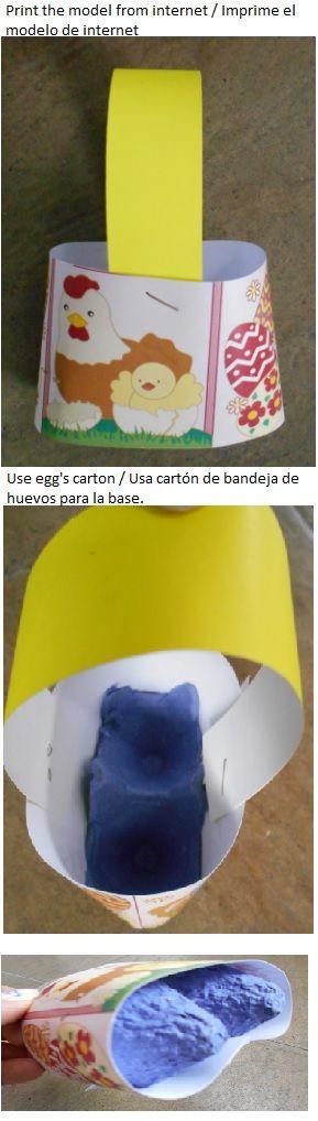 Easter basket / Canasta de pascua.  Imprime el modelo de internet, pero ponle como base bandeja de huevos. L.P.J.V.