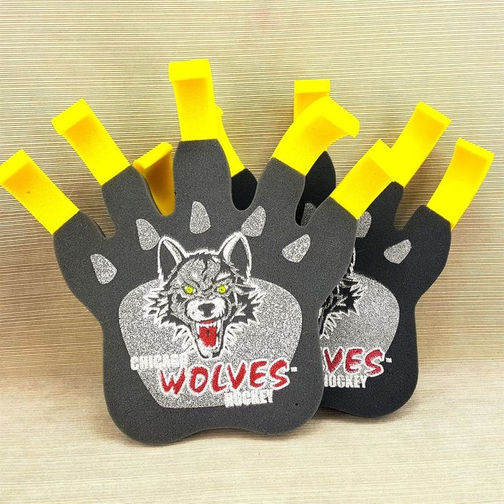 "Chicago Wolves Hockey Large 15"" Foam Wolf Claw Hand Glove Set 2 Rally Fan Gear"