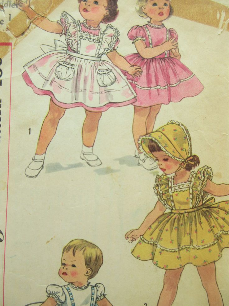 Vintage Simplicity 1896 Sewing Pattern, Toddler's Dress Pattern, 1950s Child Dress Pattern, Baby Pinafore Pattern, 1950s Sewing Pattern by sewbettyanddot on Etsy